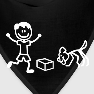 Nosework Dog and Handler in Stick Figures T-Shirts - Bandana