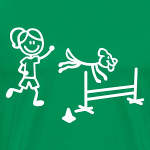 Agility Dog and Handler Stick Figures - Men's Premium T-Shirt