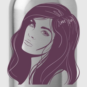 Beauty girl hair painting T-Shirts - Water Bottle