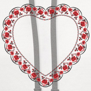 Heart red rose pattern Caps - Contrast Hoodie