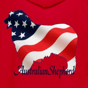 Flag Dogs - Australian Shepherd Women's T-Shirts - Unisex Fleece Zip Hoodie by American Apparel