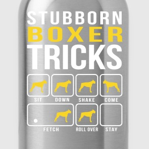 Stubborn Boxer Tricks Funny T-Shirt T-Shirts - Water Bottle