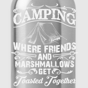 Funny camping t shirt - drinking and camping - Water Bottle
