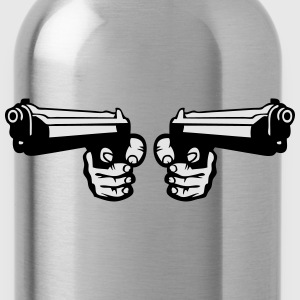 gun pistol revolver dual weapon hand 0 Tanks - Water Bottle