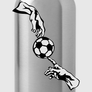 soccer ball god hits two hand man T-Shirts - Water Bottle