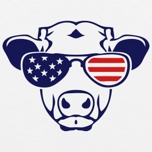 american flag cow colored sun glasses Kids' Shirts - Men's Premium Tank