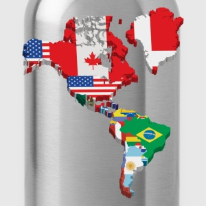 South America and North America continents flags T-Shirts - Water Bottle
