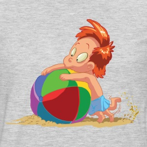 Cartoon kid playing with ball in sand T-Shirts - Men's Premium Long Sleeve T-Shirt