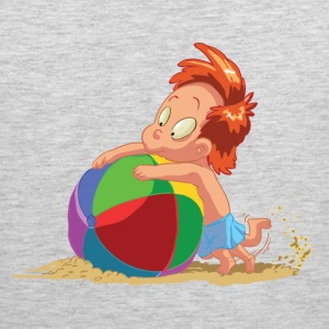 Cartoon kid playing with ball in sand T-Shirts - Men's Premium Tank