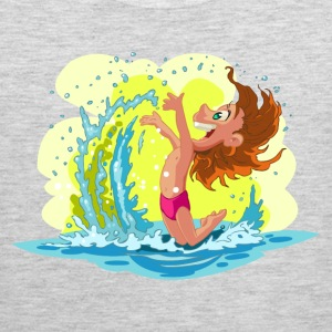 Children playing in beach waves T-Shirts - Men's Premium Tank