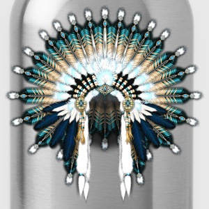 Blue Beaded War Bonnet - Water Bottle