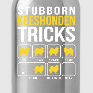 Stubborn Keeshonden Tricks T-Shirts - Water Bottle