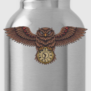 Owl with clock creative design T-Shirts - Water Bottle