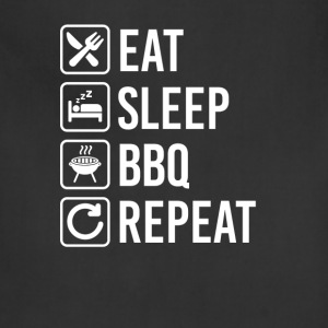 BBQ Grill Barbecue Eat Sleep Repeat T-Shirts - Adjustable Apron