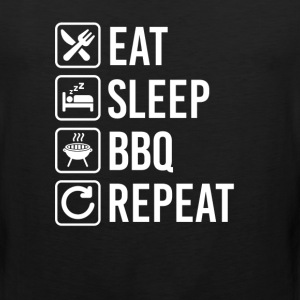 BBQ Grill Barbecue Eat Sleep Repeat T-Shirts - Men's Premium Tank