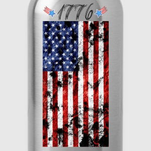 4th of July Grunge Flag-1776 T-Shirts - Water Bottle