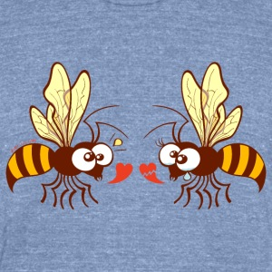 Bees expressing opposite points of view about love Long Sleeve Shirts - Unisex Tri-Blend T-Shirt by American Apparel