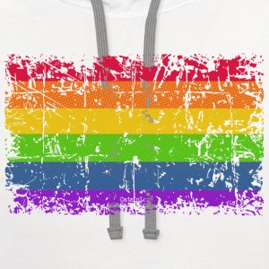 Rainbow Flag Vintage Women's T-Shirts - Contrast Hoodie