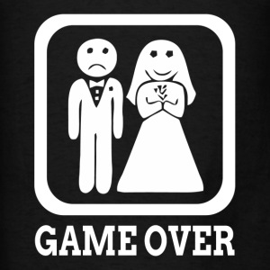 GAME OVER Marriage Bride Groom Wedding Hoodies - Men's T-Shirt