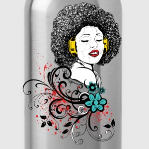 Woman in Afro and headphones - Water Bottle