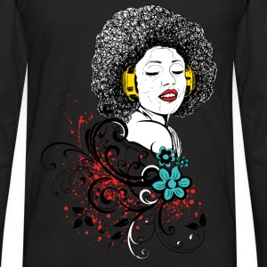 Woman in Afro and headphones - Men's Premium Long Sleeve T-Shirt
