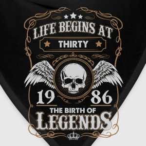 Life Begins At 1986 30 Years Old Birthday T-Shirt T-Shirts - Bandana