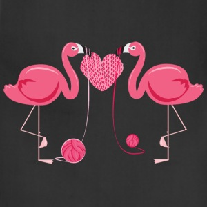 Flamingos Knit Heart Shape Women's T-Shirts - Adjustable Apron