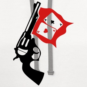 gun weapon revolver bang poker ace T-Shirts - Contrast Hoodie
