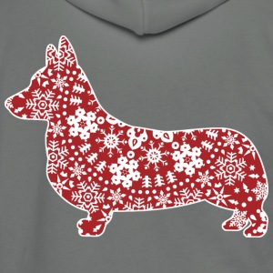 Corgi, Christmas Snowflakes - Unisex Fleece Zip Hoodie by American Apparel