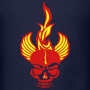 skull dead head fire flame fire wing Long Sleeve Shirts - Men's T-Shirt