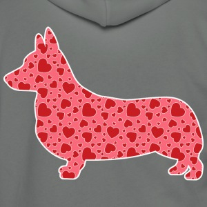Corgi, Valentine's Hearts - Unisex Fleece Zip Hoodie by American Apparel