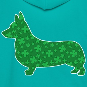 Corgi, St. Patrick's Day Shamrocks - Unisex Fleece Zip Hoodie by American Apparel