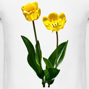 Backlit Yellow Tulips Buttons - Men's T-Shirt