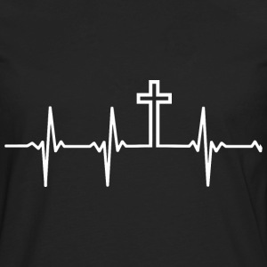 Christian - My heartbeat is the Cross - Men's Premium Long Sleeve T-Shirt