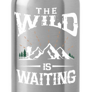 The wild is waiting camping funny tshirt - Water Bottle
