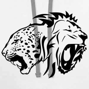 tribal lion wild tiger head roaring Kids' Shirts - Contrast Hoodie