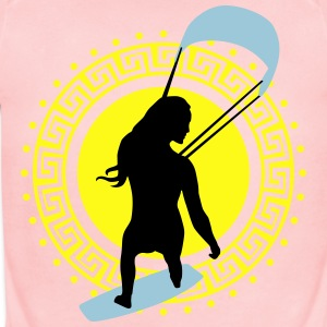 kite_surfing_woman_062016a_3c Kids' Shirts - Short Sleeve Baby Bodysuit