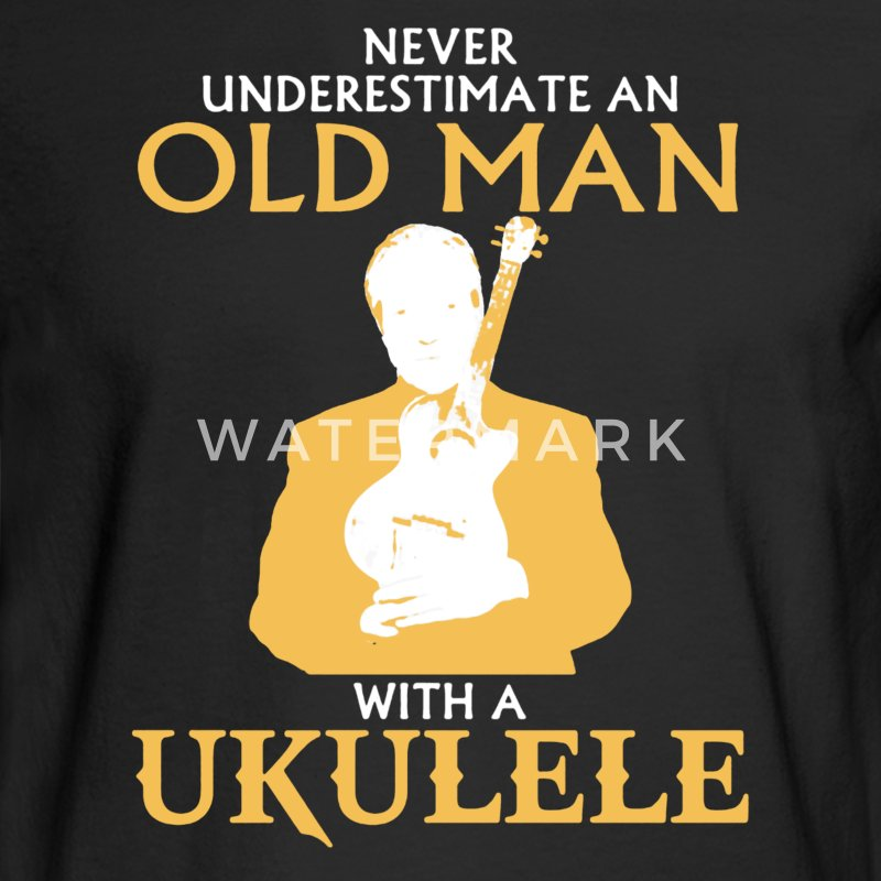 Old Man With A Ukulele - Men's Long Sleeve T-Shirt