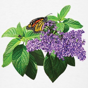 Monarch Butterfly on Heliotrope Caps - Men's T-Shirt