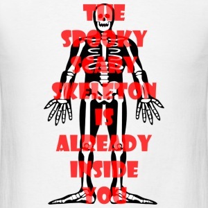 Spooky Scary Skeleton Small Button - Men's T-Shirt