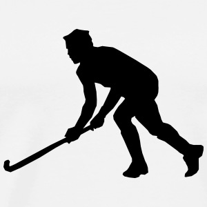 Playing Hockey Silhouette (Sport) Hoodies - Men's Premium T-Shirt