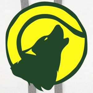 wolf howling figure tennis ball logo T-Shirts - Contrast Hoodie