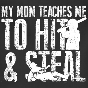 Baseball - My mom teaches me to hit and steal - Adjustable Apron