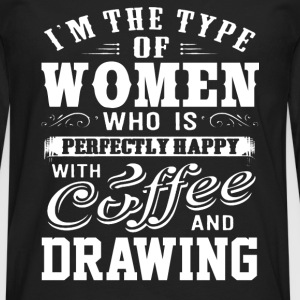 Drawing - This women is perfectly happy with draw - Men's Premium Long Sleeve T-Shirt