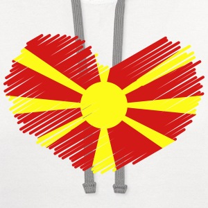 Macedonia Love Heart Flag Drawing T-Shirts - Contrast Hoodie