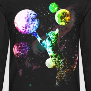 Space Cat with Planets - Men's Premium Long Sleeve T-Shirt