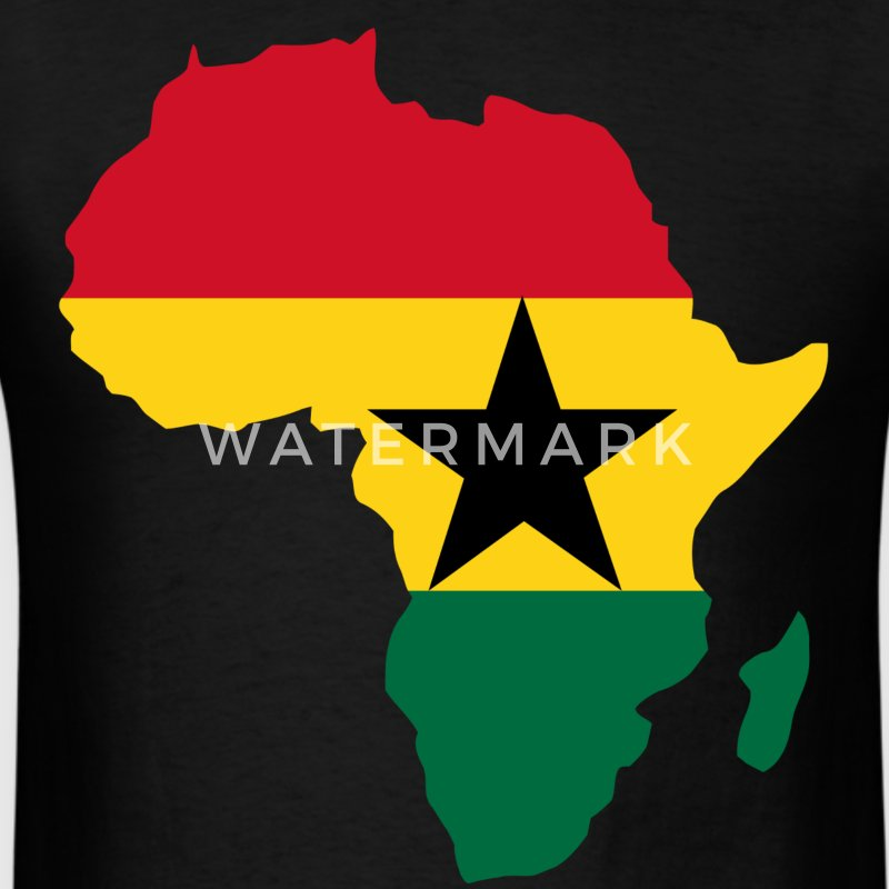 Men's Ghana Flag In Africa Map T-Shirt - Men's T-Shirt