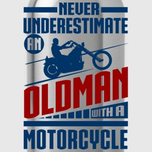 Old Man With Motorcycle T-Shirts - Water Bottle