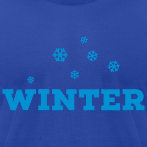 WINTER - Falling Snowflakes Hoodies - Men's T-Shirt by American Apparel