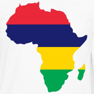 Mauritius Flag In Afric Map T-Shirt - Men's Premium Long Sleeve T-Shirt